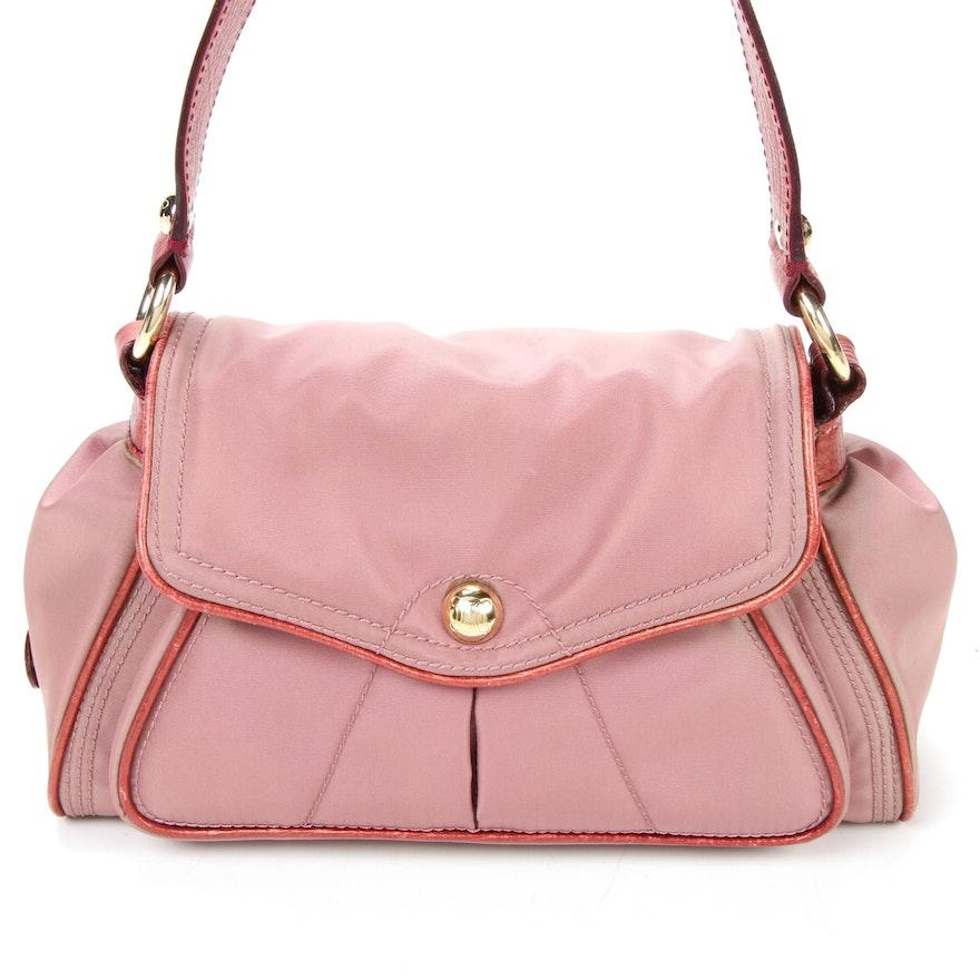 Celine Flap Front Shoulder Bag in Rose Nylon and Leather