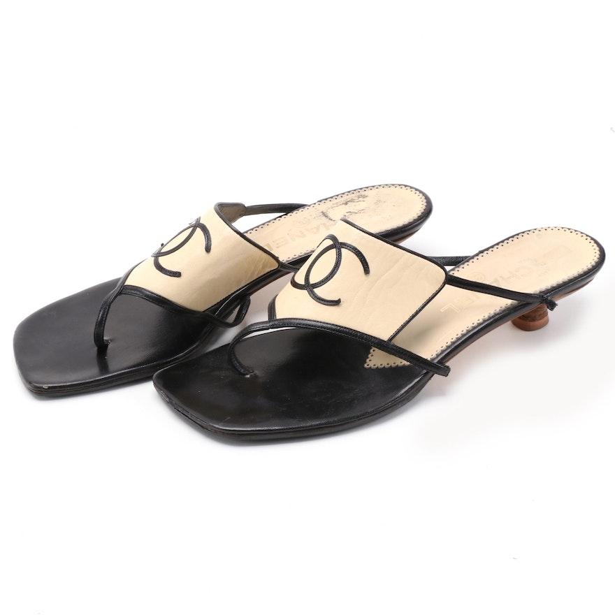 Chanel CC Logo Leather Kitten Heeled Sandals
