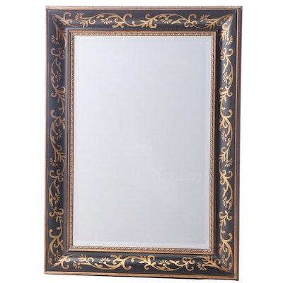 Contemporary Ebonized and Gilt-Decorated Mirror