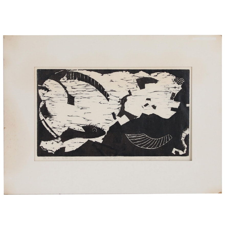 "Abstract Woodblock ""Oh, To Go Down to the Sea Again,"" 20th Century"
