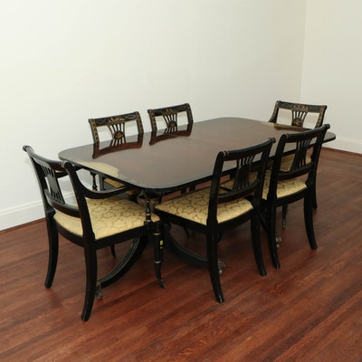 "Drexel ""Et Cetera"" Rosewood and Ebonized Chinoiserie Dining Table and Chairs Set"