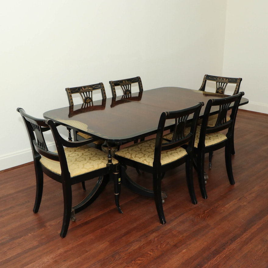 """Drexel """"Et Cetera"""" Rosewood and Ebonized Chinoiserie Dining Table and Chairs Set"""