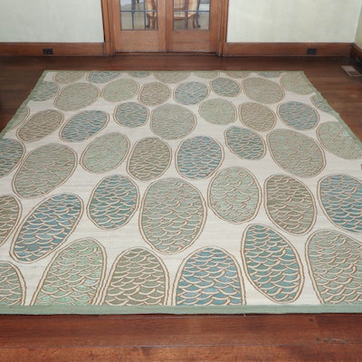 9' x 11' 3 Hand Woven Orb-Pattern Wool Area Rug