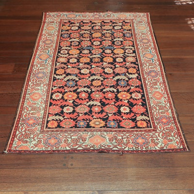 4' 3 x 6' 6 Hand-Knotted Persian Wool Rug, 1960s