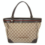Gucci GG Canvas and Brown Leather Web Stripe Tote Bag