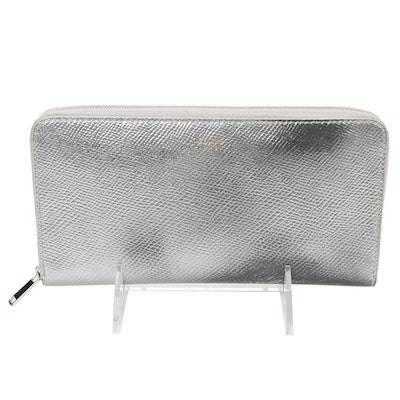 Celine Silver Metallic Laminated Grained Calfskin Zip Wallet