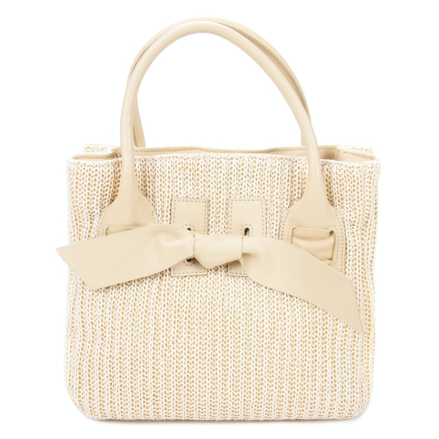 Maschera Firenze White Knit and Beige Leather Handbag with Bow