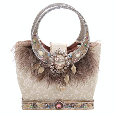 Mary Frances Feather and Bead Embellished Top Handle Bag