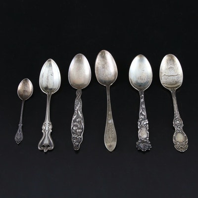 Sterling Silver Engraved and Souvenir Spoons with Embroidered Wrap