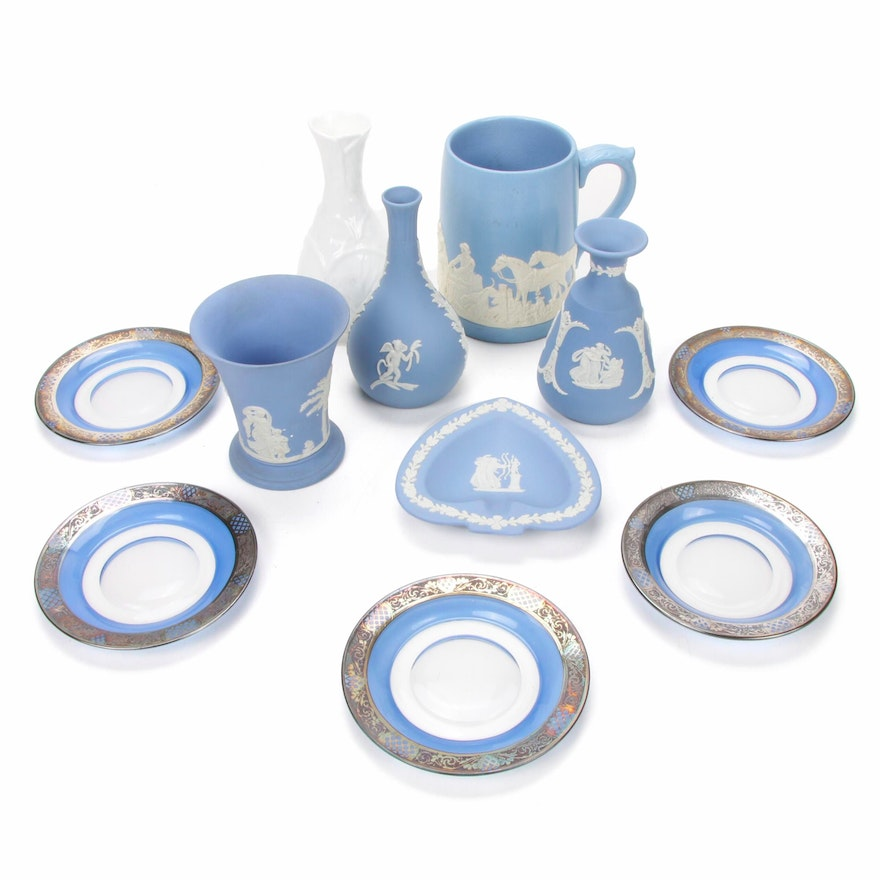 Blue Jasperware, Silver Embellished Plates and Other Tableware