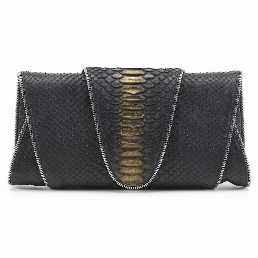 Eileen Kramer Dyed and Painted Python Skin Fold Over Clutch with Zipper Trim