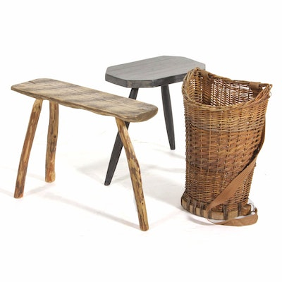 Primitive and Painted Wood Three-Legged Stools with Wicker Harvest Basket
