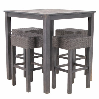Contemporary Metal and Faux Rattan 5-Piece Patio Bar Height Dining Set