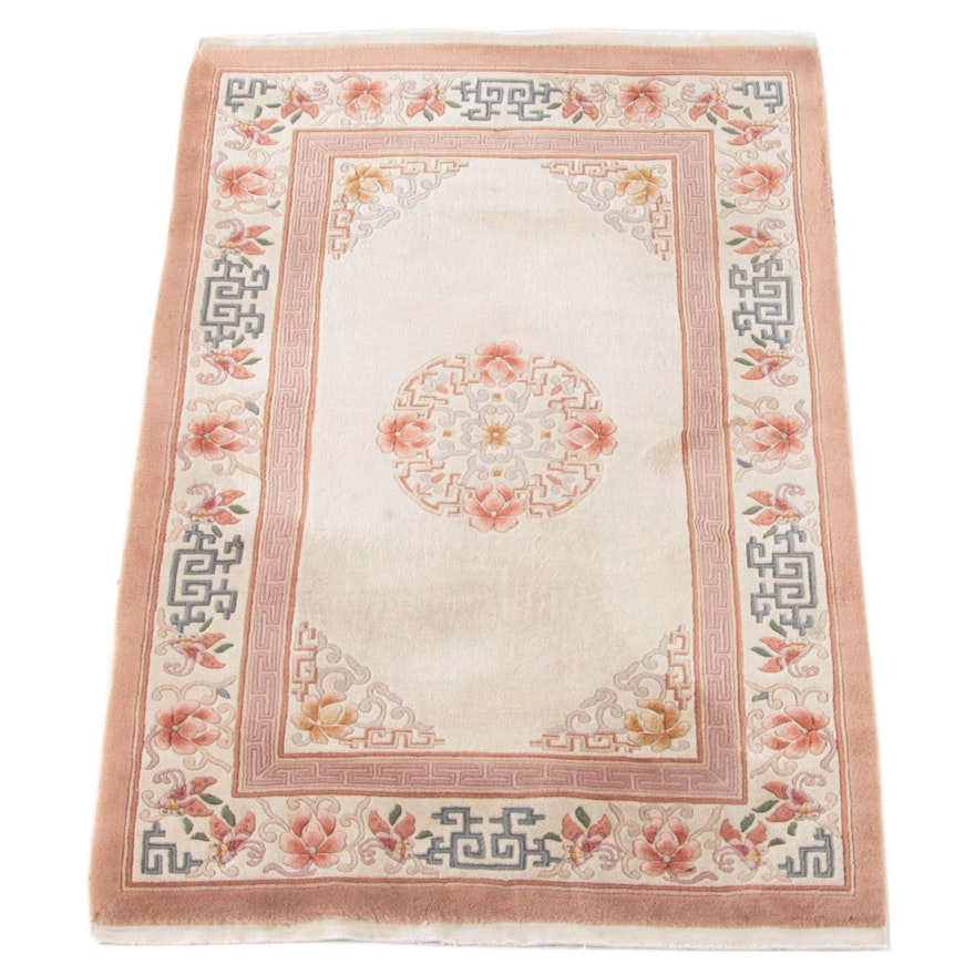 4'0 x 6'3 Hand-Knotted Chinese Carved Floral Wool Rug