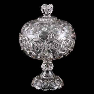 Moon and Star Pressed Glass Compote, Mid-20th Century