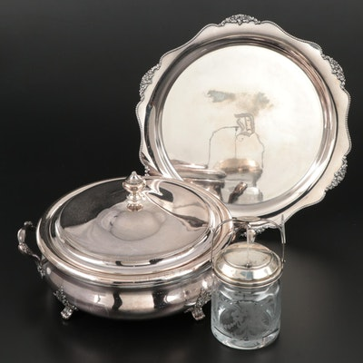 Hawkes Sterling and Glass Canister with Sterling Silver Serveware