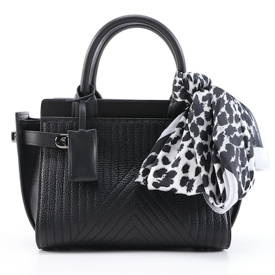 Quilted Leather Satchel with Dual Turn Locks and Silk Blend Scarf