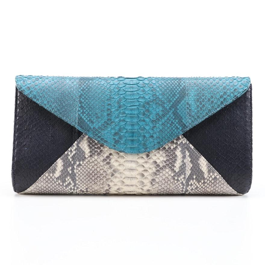 "Eileen Kramer ""Ann"" Dyed Python Skin Envelope Evening Bag"