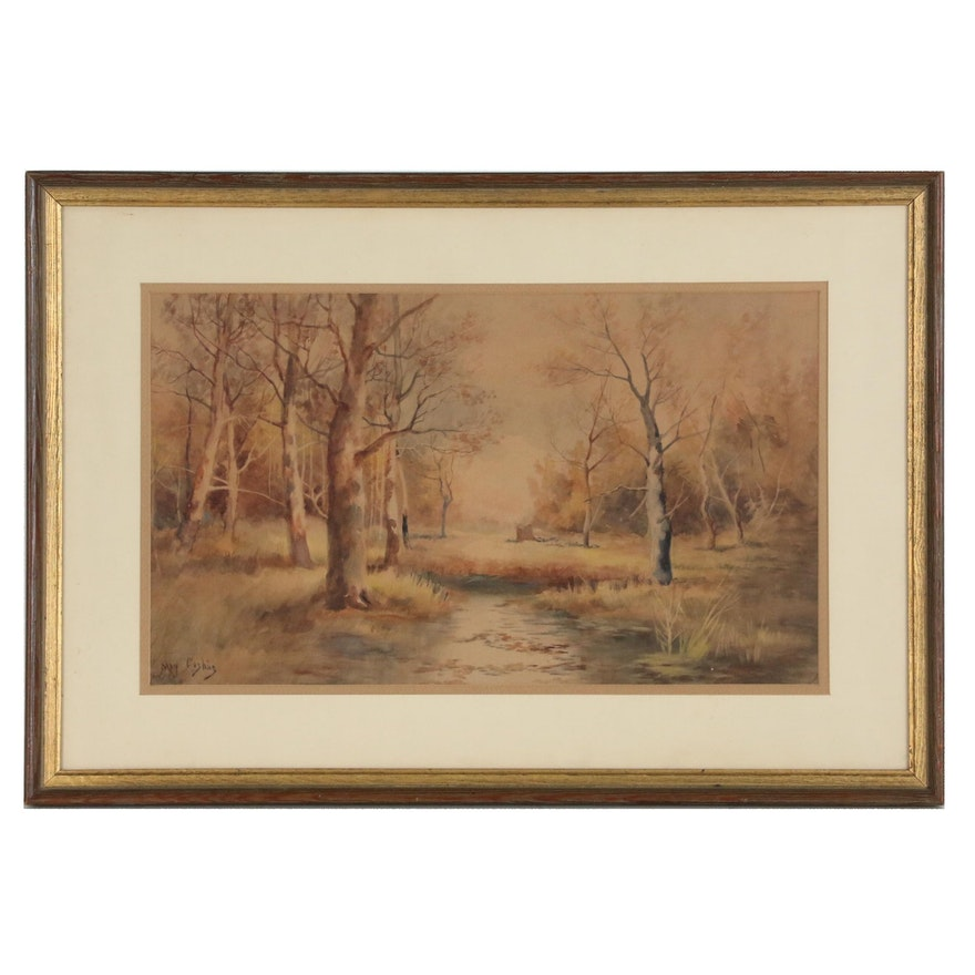 Late Autumn Landscape Watercolor Painting, Mid 20th Century