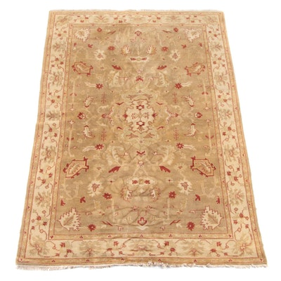 5'11 x 9'3 Hand-Knotted Indian Agra Wool Rug