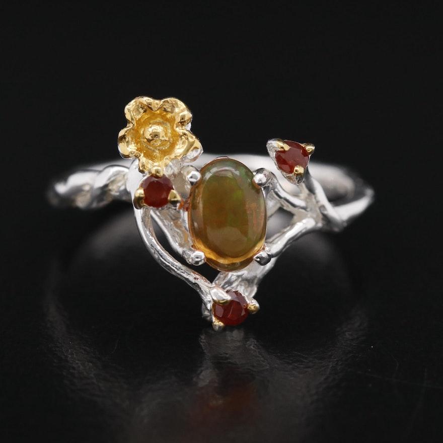 Sterling Silver Opal and Garnet Foliate Ring