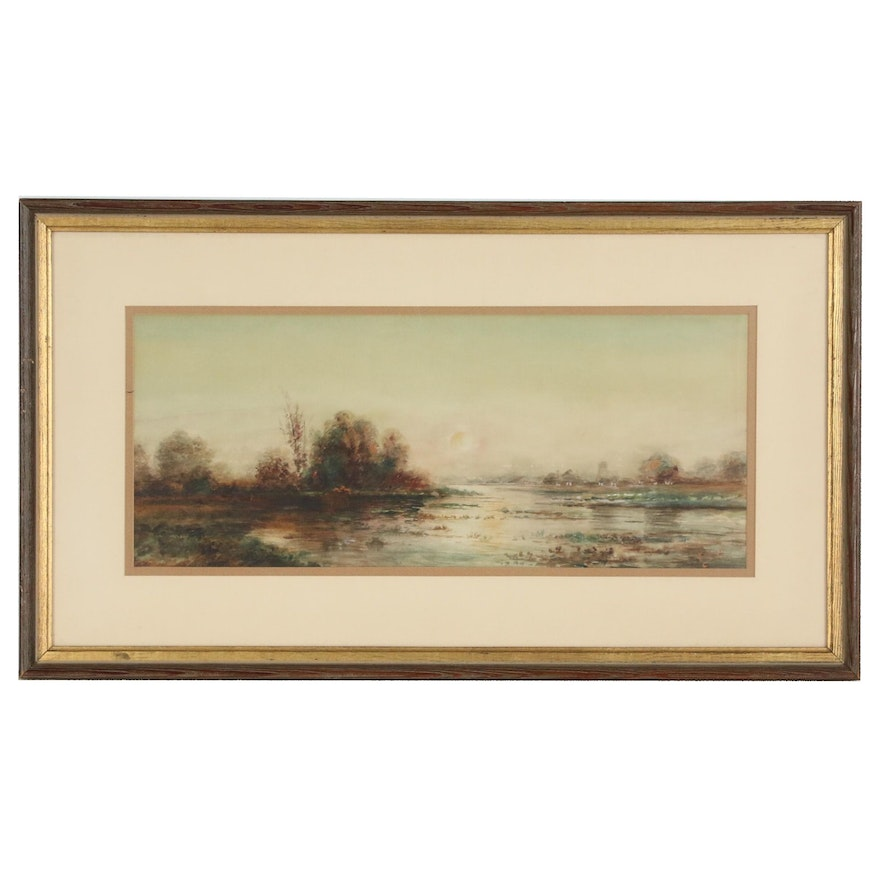 Sunset Landscape Watercolor Painting, Mid 20th Century
