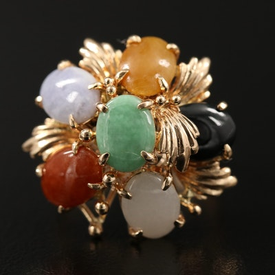 14K Various Colored Jadeite and Black Onyx Cluster Ring