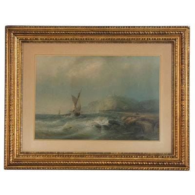 Chromolithograph after Franz Emil Krause Stormy Naval Scene, Mid 20th Century