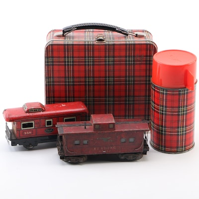 Marx Red Tin Cabooses with Aladdin Industries Tartan Metal Lunch Box