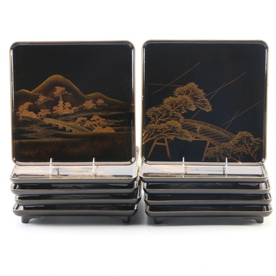 Japanese Maki-e Lacquer Plates with Storage Crate, Mid to Late 20th Century