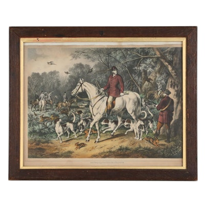 Eduard Gustav May Company Hunting Scene Lithograph, Mid-Late 19th Century