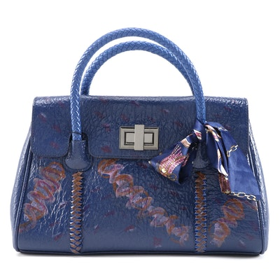 Hand-Painted Alligator Embossed Satchel with Whipstitch Handles and Twilly Scarf
