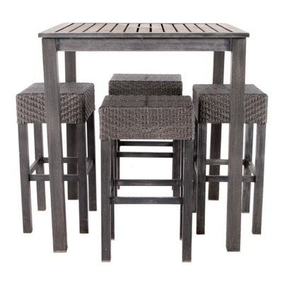 Contemporary 5-Piece Metal and Faux Rattan Patio Bar Height Dining Set