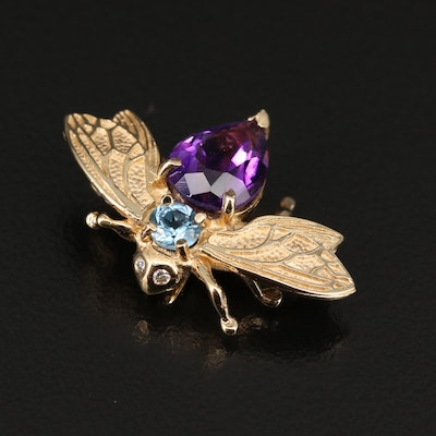 14K Amethyst, Topaz and Diamond Fly Brooch
