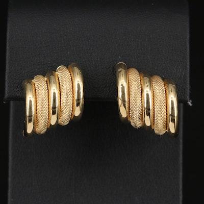 18K Textured Multi-Tube Button Earrings