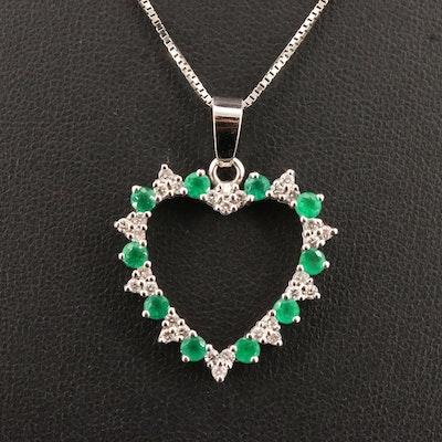 14K Emerald and Diamond Heart Pendant Necklace
