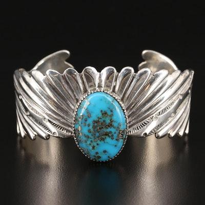 Lee Nieto Kewa Pueblo Sterling Turquoise Textured Cuff