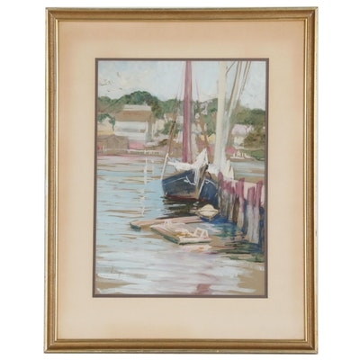 Ida Holterhoff Holloway Harbor Scene Watercolor Painting, Early-Mid 20th Century
