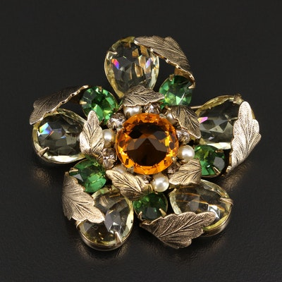 1960s Schreiner New York Rhinestone and Faux Pearl Floral Brooch