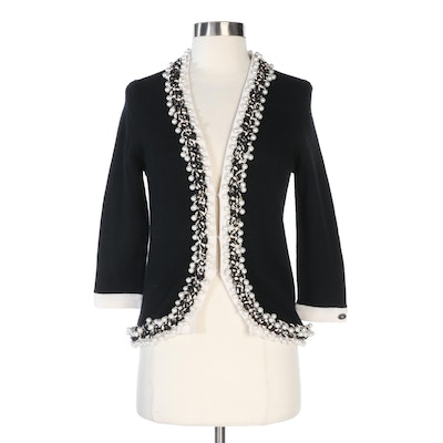 Chanel Black and White Cashmere Cardigan with Braided Faux Pearl Trim