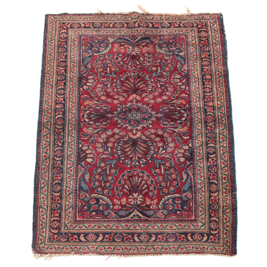 3'6 x 5'2 Hand-Knotted Persian Sarouk Wool Rug