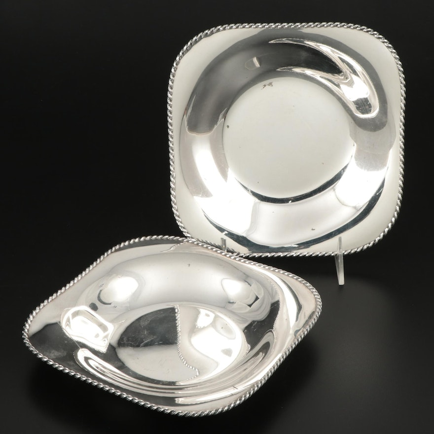 Pair of Wilkens & Söhne 800 Silver Bowls with Rope Twist Edge Bowls, circa 1925