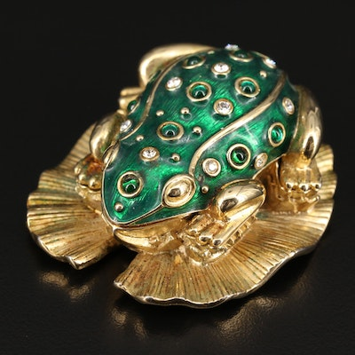 "Vintage Kenneth Jay Lane Critter Series ""Frog Prince"" Brooch and Trinket Box"