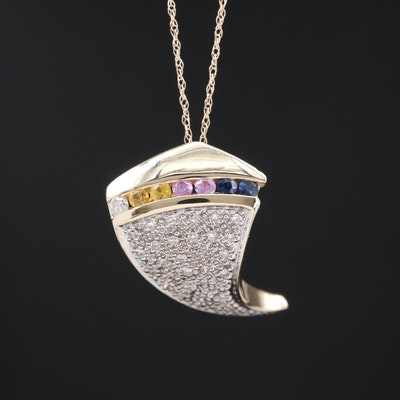 14K Diamond and Sapphire Pavé Necklace