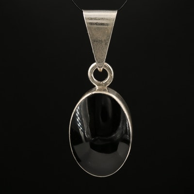 Mexican Sterling Silver Obsidian Pendant