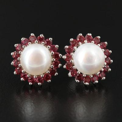 Sterling Silver Pearl and Rhodolite Garnet Halo Stud Earrings