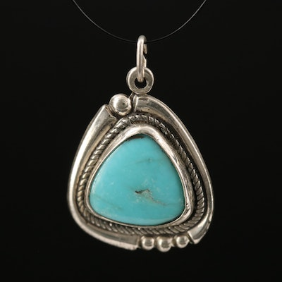 Western Bell Trading Post Sterling Silver Turquoise Pendant