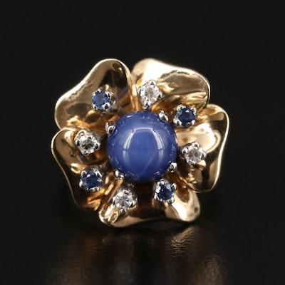 14K Star Sapphire, Diamond and Sapphire Flower Ring