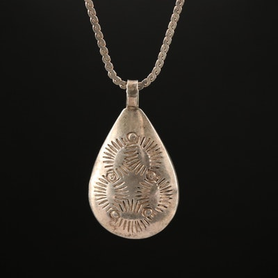 Western Style Signed Sterling Silver Stampwork Pendant Necklace