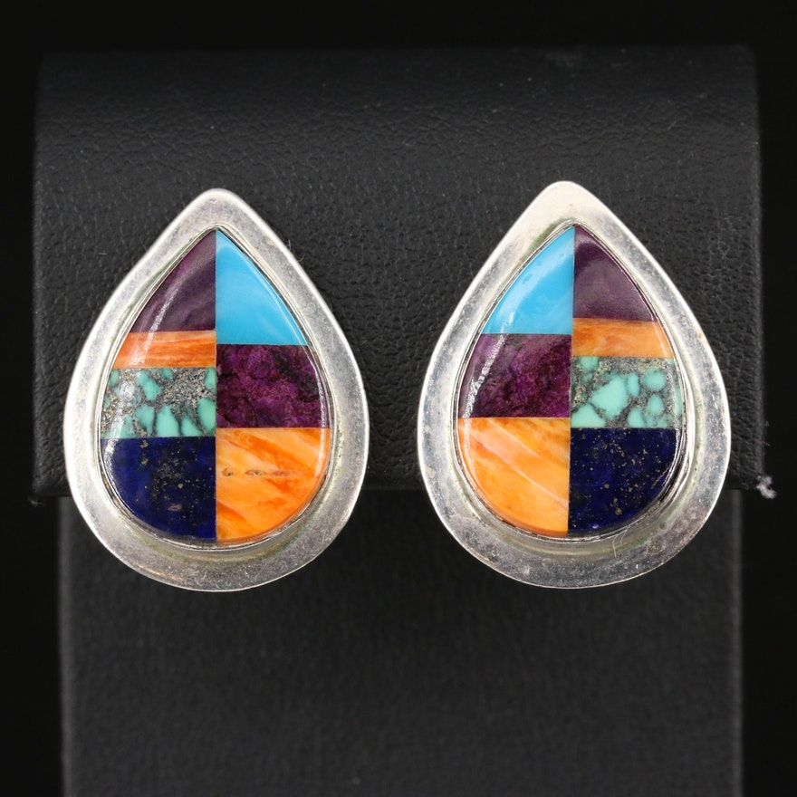 Western Style Sterling Spiny Oyster, Sugilite and Lapis Lazuli Inlay Earrings